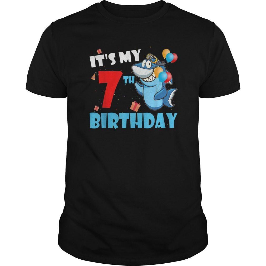 Kids Its My 7 7th Birthday Gift Shark T Shirt For Boy Girl