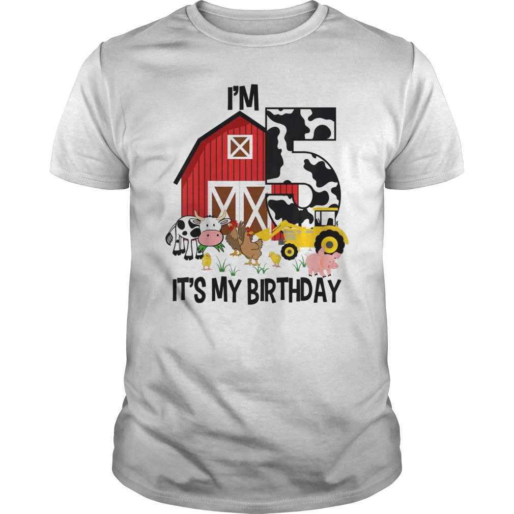 Kids Its My Birthday Im 5 Tractor Years Old Shirt